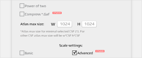 gaf expanded settings to adjust the converted 2d animations